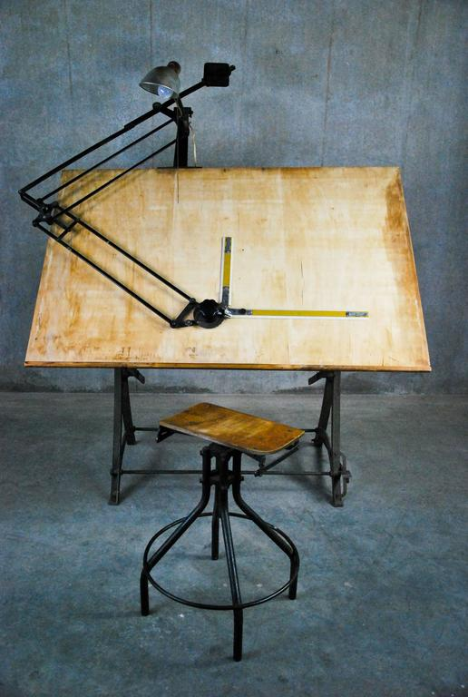 1920 Adjustable Cast Iron Drafting Table At 1stdibs