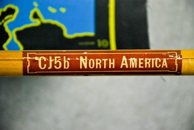 1960 vintage pull down cartography chalkboard map of north america
