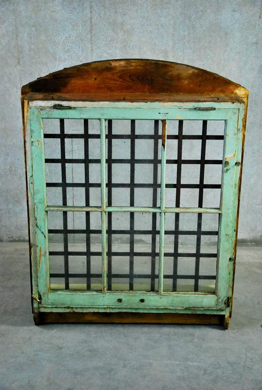 Canadian 1870 Wooden Window Frame with Forged Steel Guard  For Sale