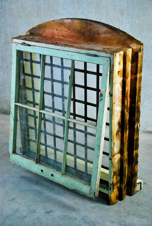 Late 19th Century 1870 Wooden Window Frame with Forged Steel Guard  For Sale