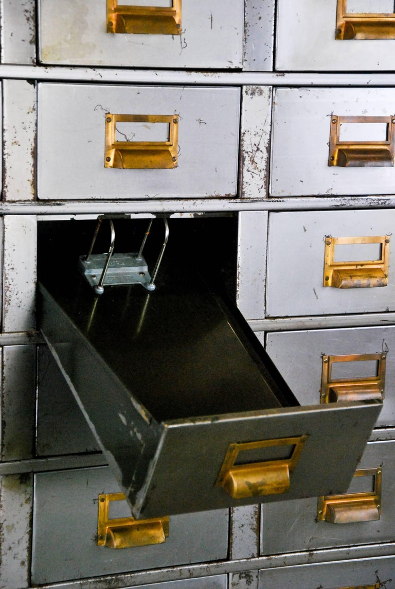 Canadian 1920 Multi-Drawer Apothecary-Style Industrial Cabinet For Sale