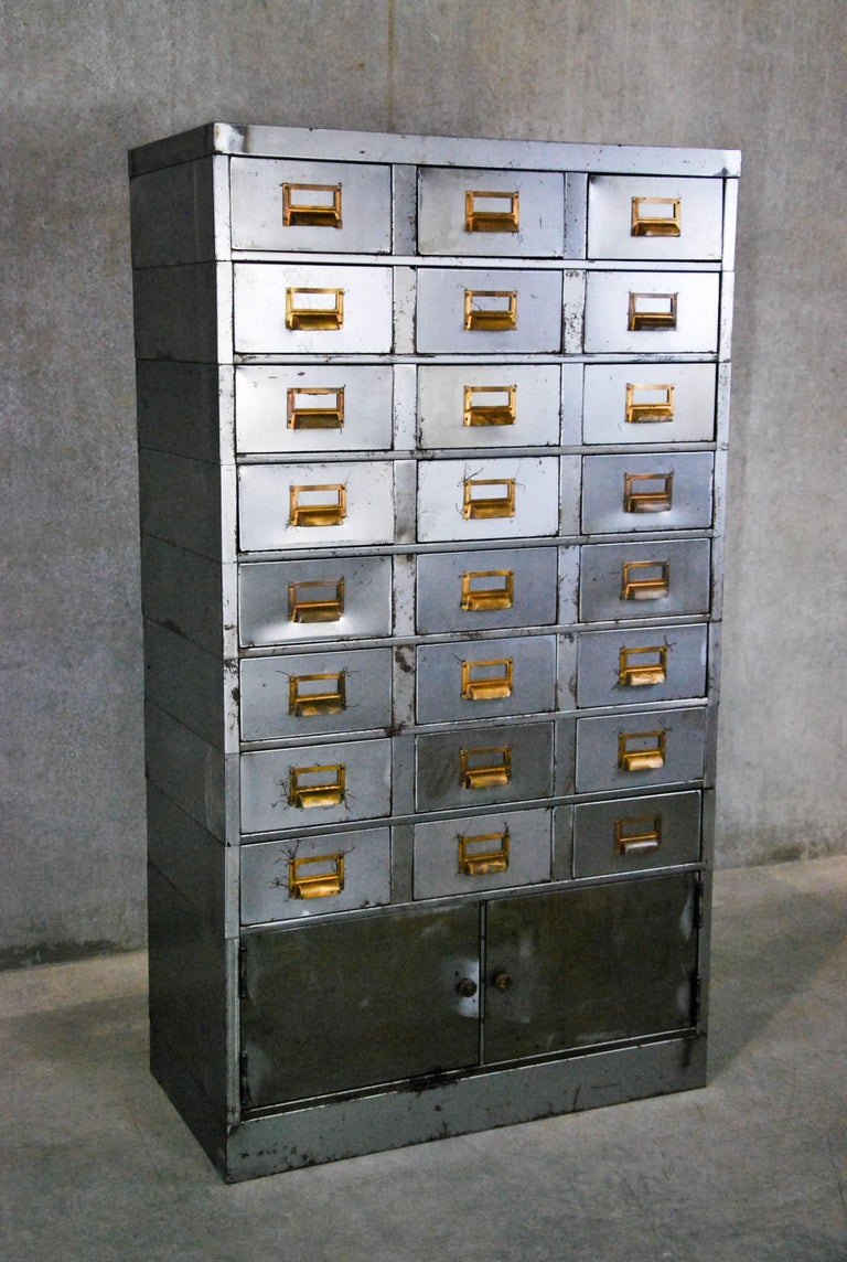 Metal 1920 Multi-Drawer Apothecary-Style Industrial Cabinet For Sale