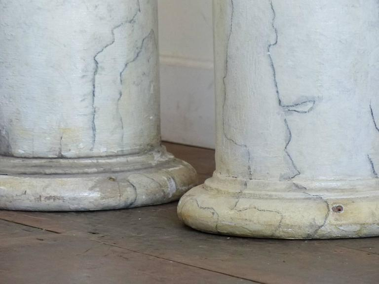 1920 Faux Marble Painted Wooden Columns In Good Condition For Sale In Surrey, BC