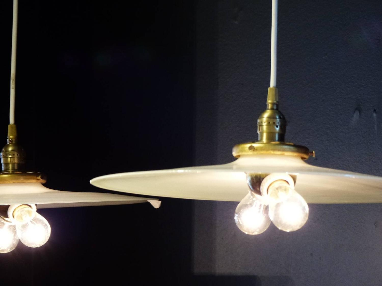 Shop Good Earth Lighting Metropolitan 3 Light Bronze: 1920 Industrial White Opalescent Glass Pendant Light For