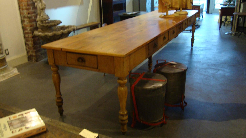 Pine Twelve Foot Convent Table 1880 at 1stdibs