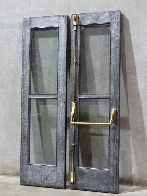 Steel Chicken Wire Glass Doors at 1stdibs