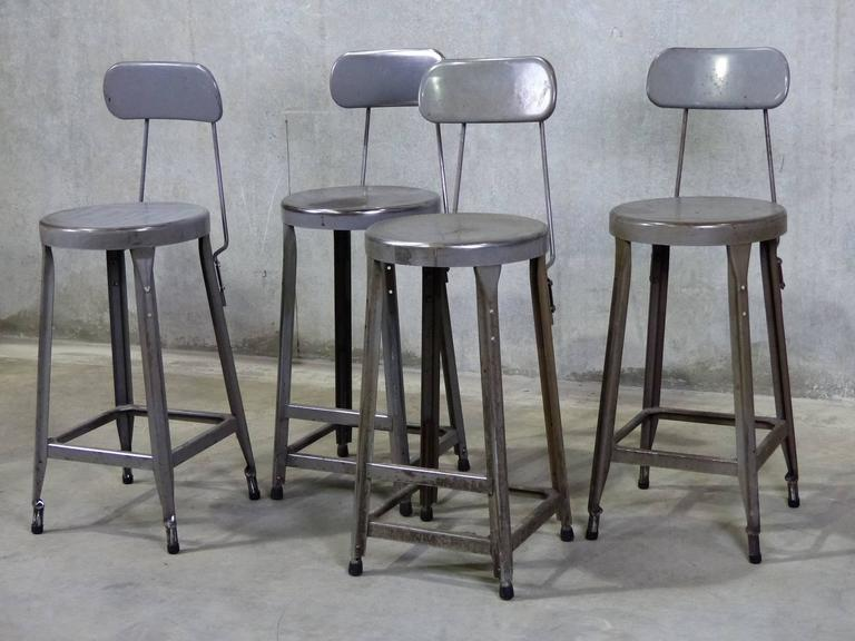 Counter Height Chairs Set Of 4 : Set of Four Counter Height Industrial Stools at 1stdibs