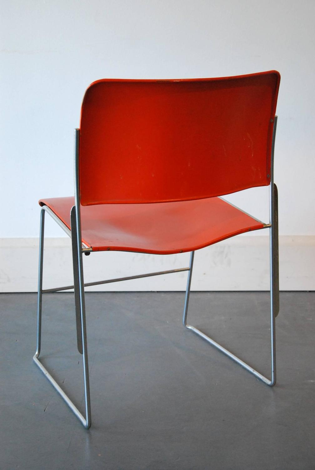 1970 Set Of Five Stackable Metal 40 4 Chairs By David Rowland For Sale At 1st
