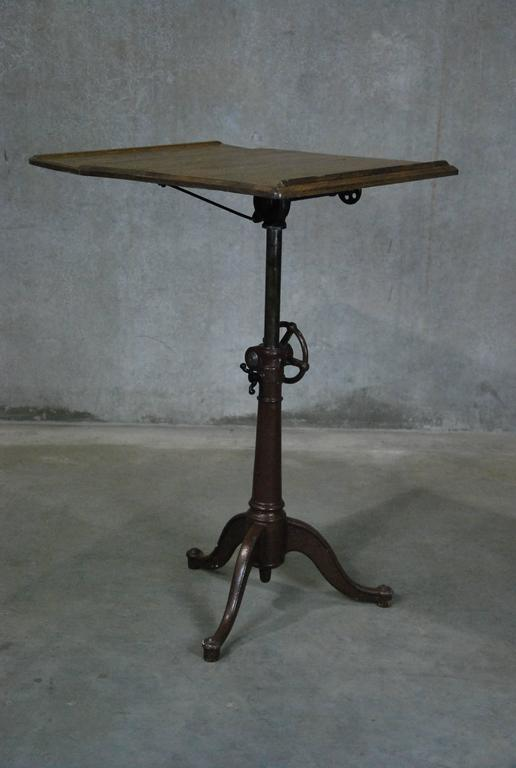 This vintage drafting table by hamilton is no longer available - 1910 Cast Iron Adjustable Drafting Table At 1stdibs