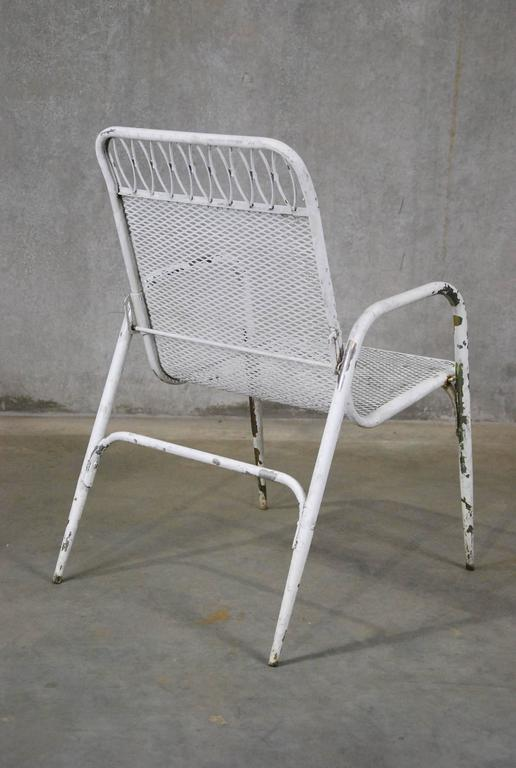 1960 Set Of Six Adjustable Stacking Outdoor Metal And