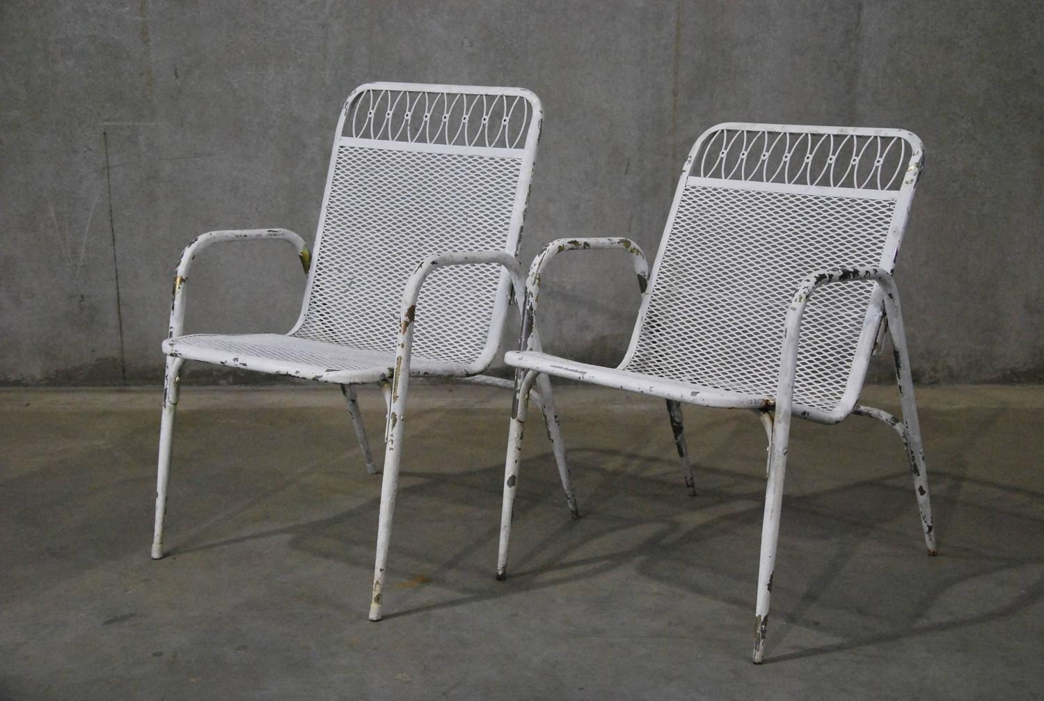 1960 Set Of Six Adjustable Stacking Outdoor Metal And Brass Garden Chairs At