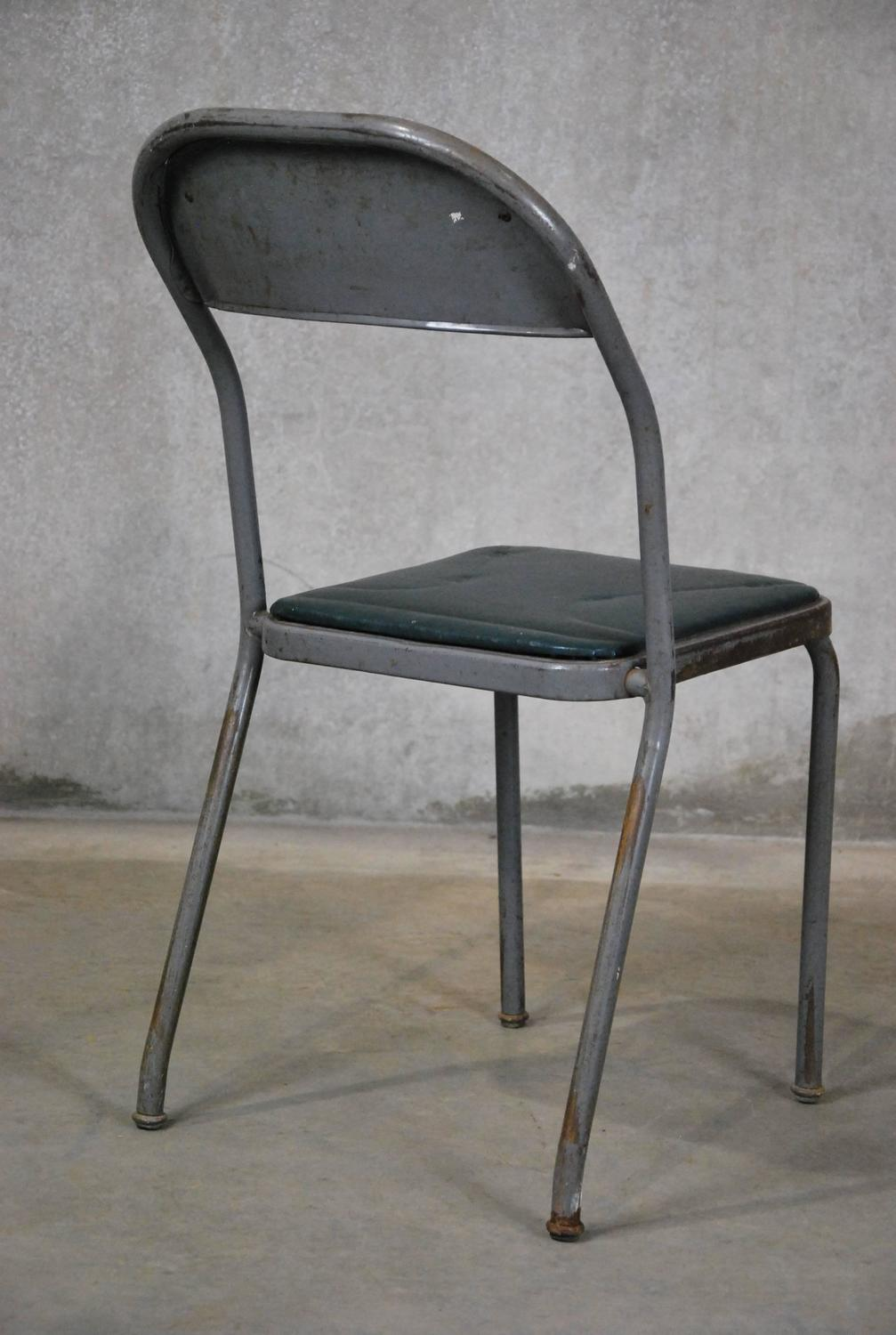 Set Of 1950 Metal Stacking Industrial Chairs At 1stdibs