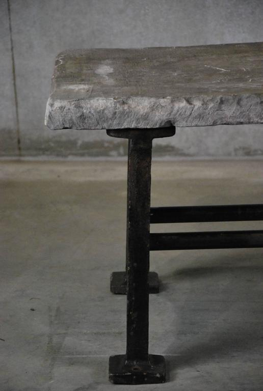 Stone Top Coffee Table With Cast Iron Base At 1stdibs