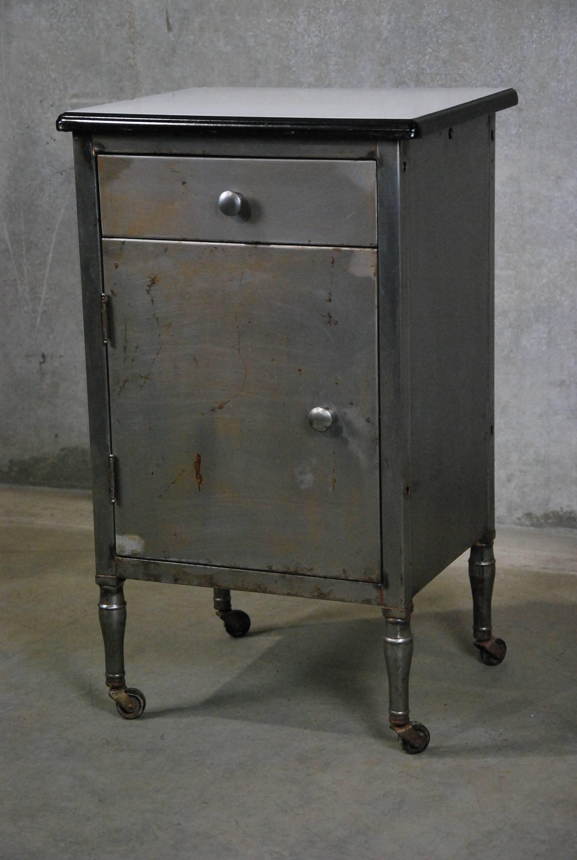 vintage industrial simmons metal side table. Vintage Industrial Simmons Metal Side Table