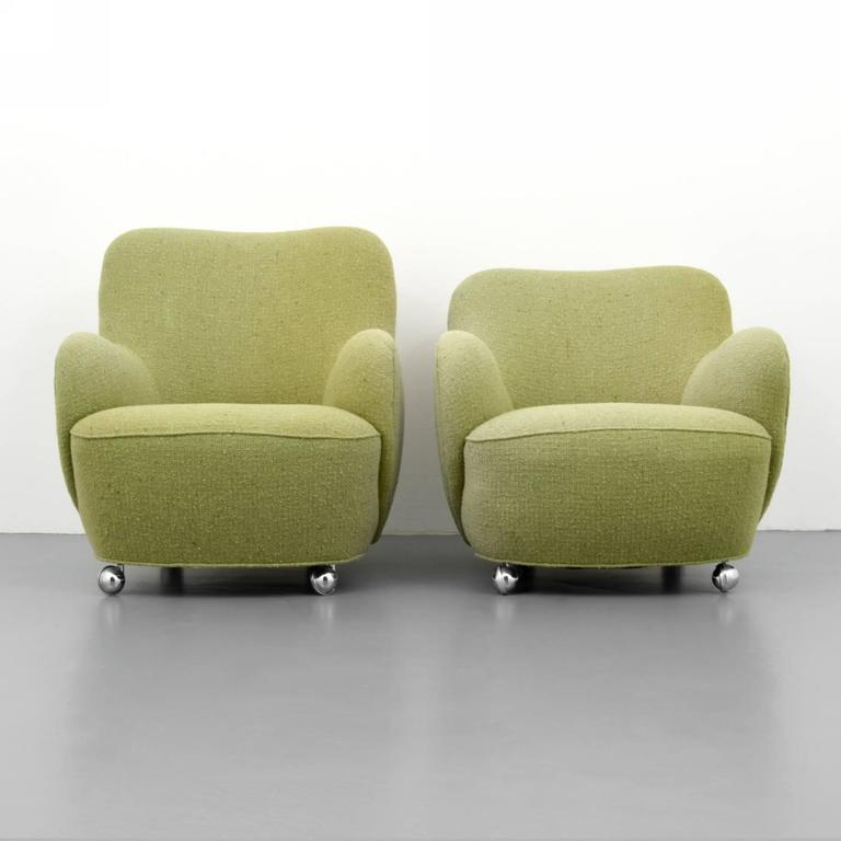 Superieur Pair Of Rare And Early Wheeled U0026quot;Barrelu0026quot; Lounge Chairs, Model #100A