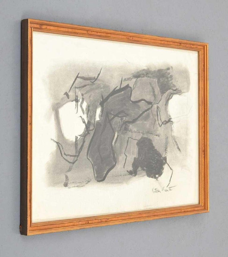 Charcoal work by Esteban Vicente (1903-2001). Gallery label to reverse: Vered Art Gallery, East Hampton, New York. Provenance: Private Collection, Boca Raton, Florida.  Markings: signed.  Dimensions (H, W, D): 19.75