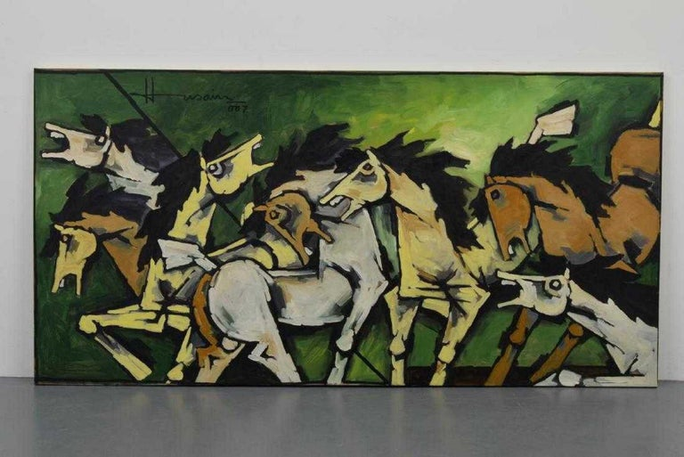 Indian Large Maqbool Fida Husain Painting For Sale