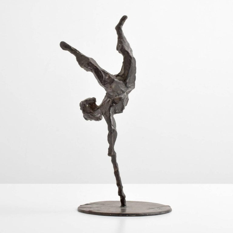 Bronze sculpture by Chaim Gross (1904-1991). Work is untitled, but is one of several we have seen referred to as Handstand. Foundry mark reads Bedi Makky NYC. Provenance: Acquired from the artist by Leonard L. Farber (died 2005) of Fort Lauderdale,