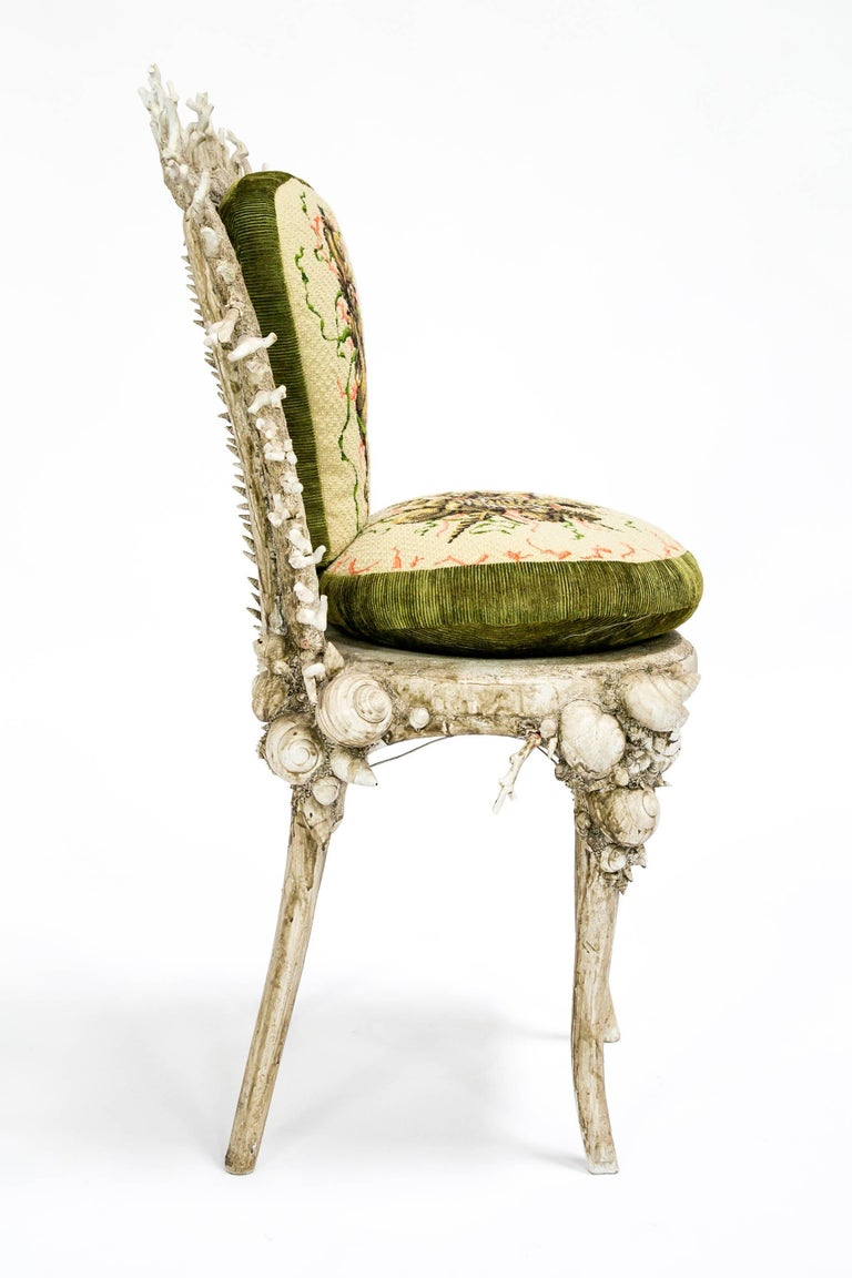 White Fantasy Shell and Coral Chair with Embroidered Pillow In Good Condition For Sale In San Francisco, CA