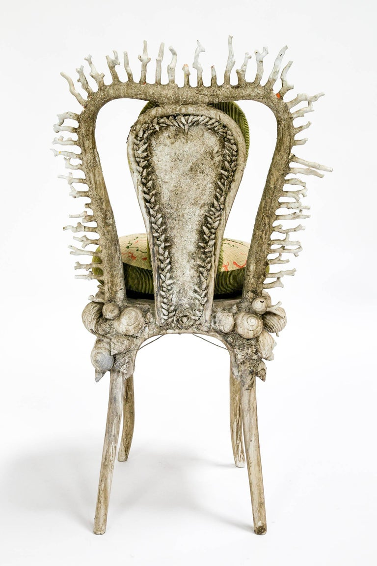 Late 20th Century White Fantasy Shell and Coral Chair with Embroidered Pillow For Sale