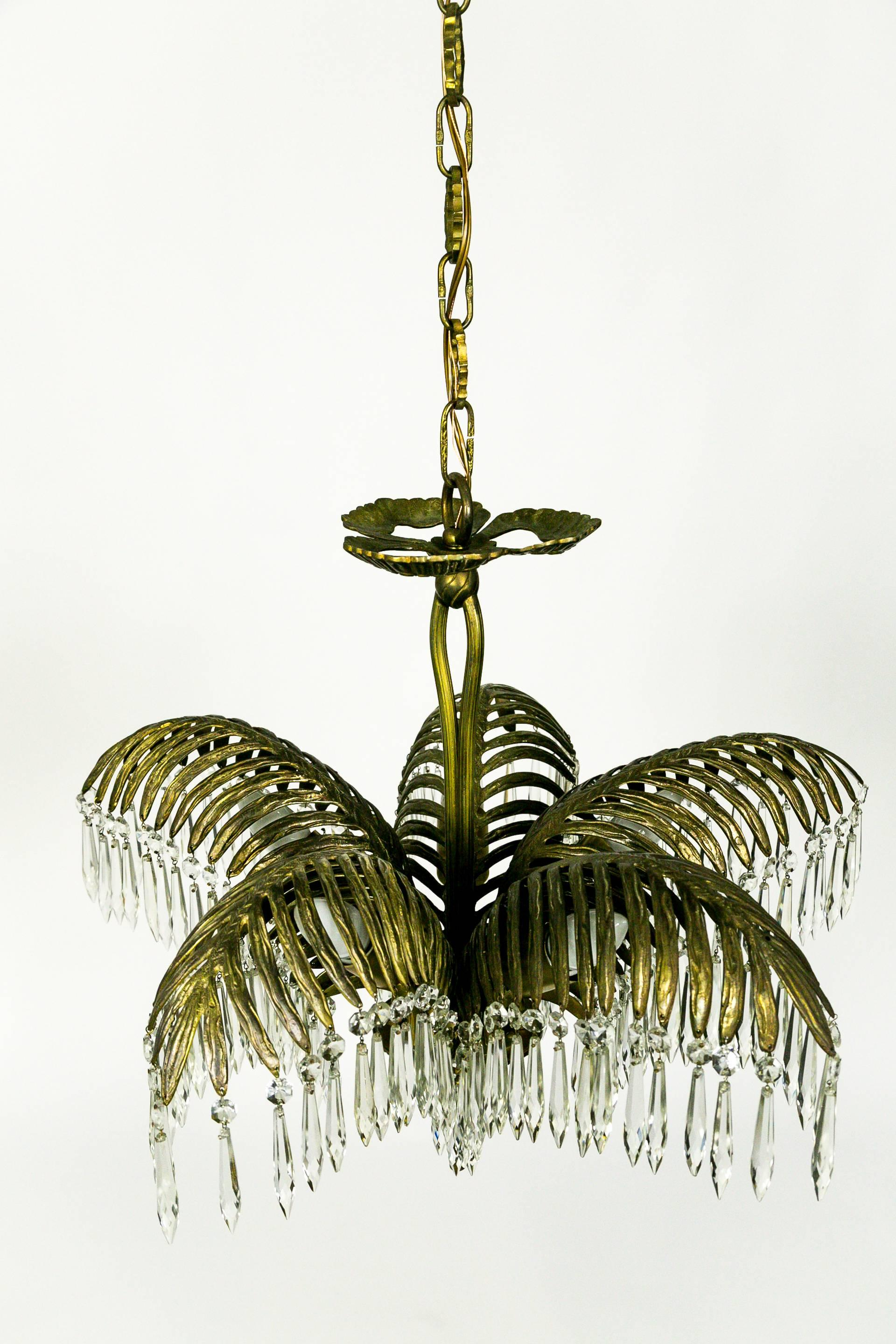 Palm frond and crystal chandelier for sale at 1stdibs aloadofball Images