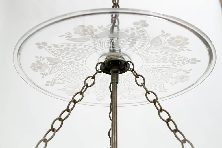 19th Century Etched Bell Jar In Excellent Condition For Sale In San Francisco, CA