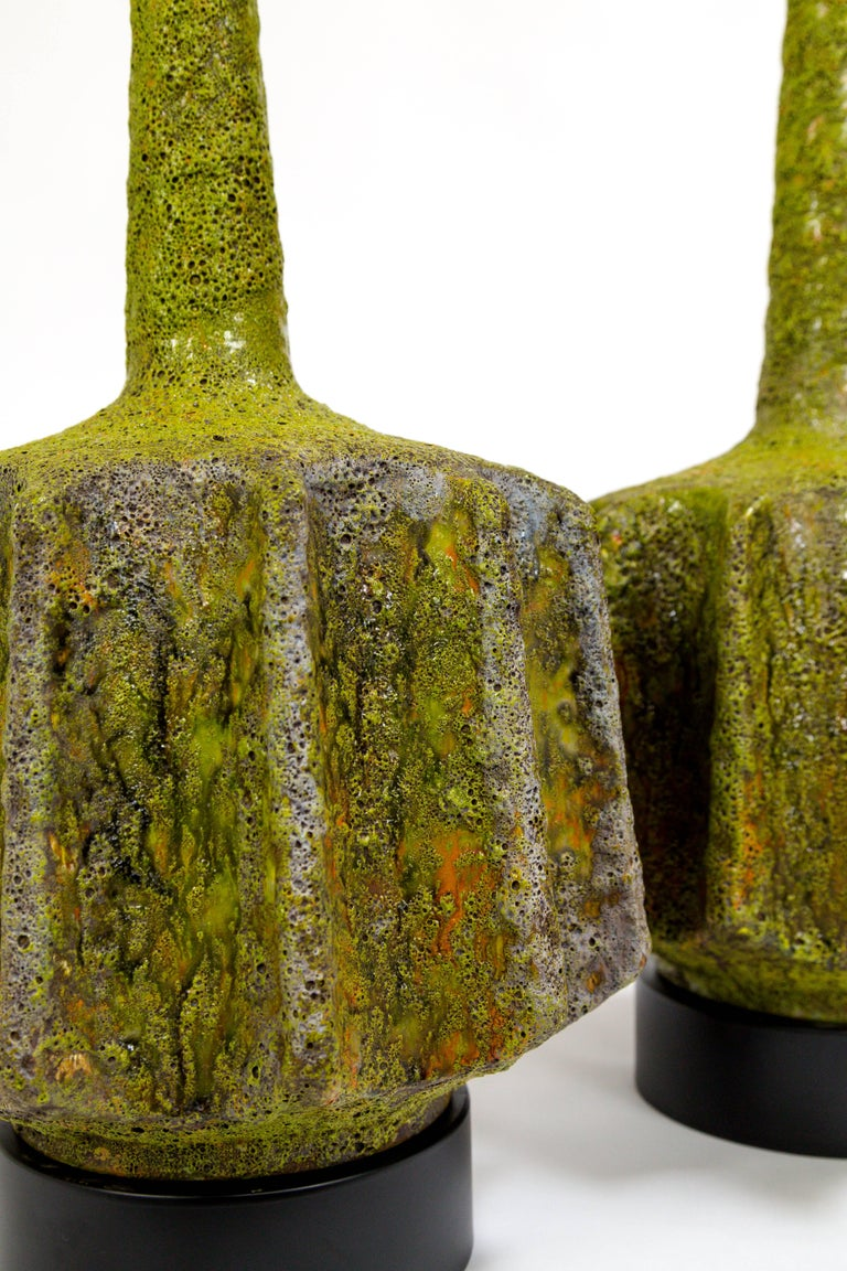 Monumental Pair of Green Lava Glaze Lamps by Volcano Fantoni For Sale 4