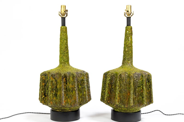 Monumental Pair of Green Lava Glaze Lamps by Volcano Fantoni For Sale 5