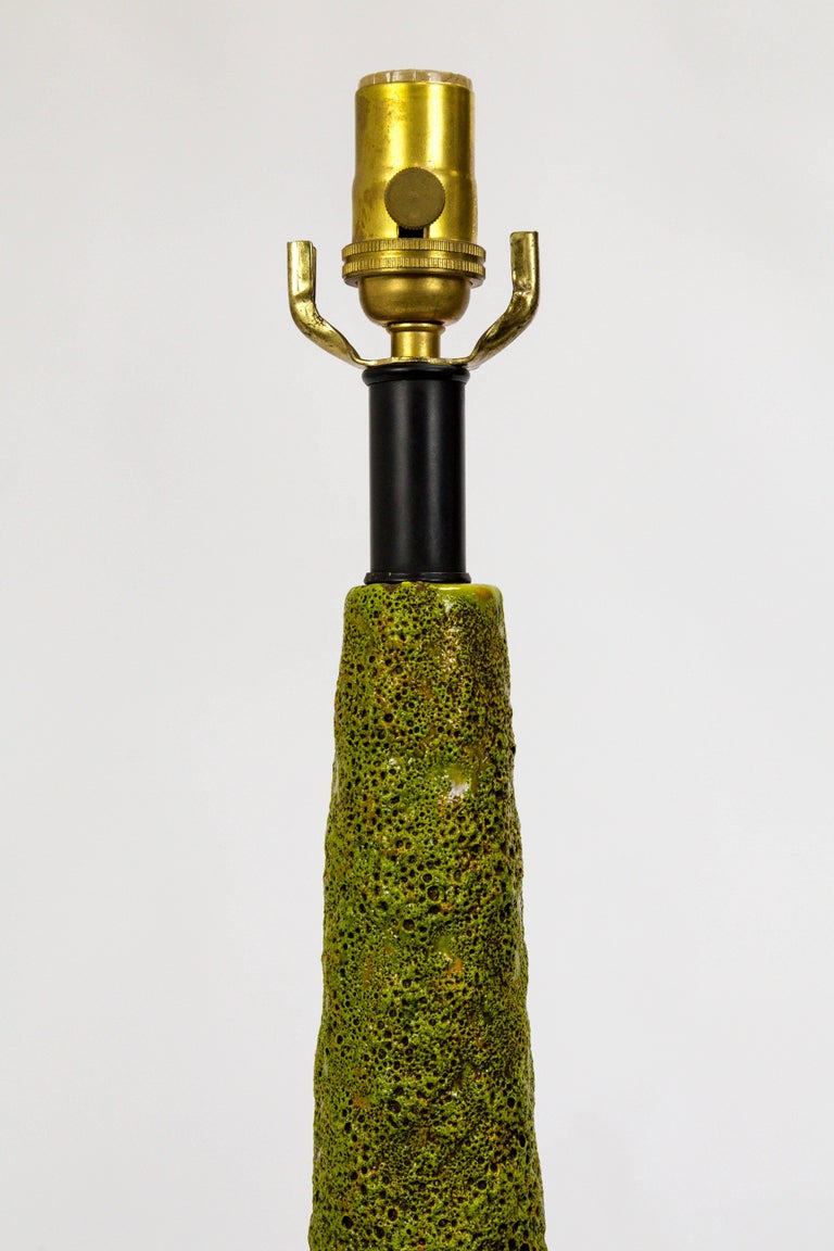 Monumental Pair of Green Lava Glaze Lamps by Volcano Fantoni For Sale 3