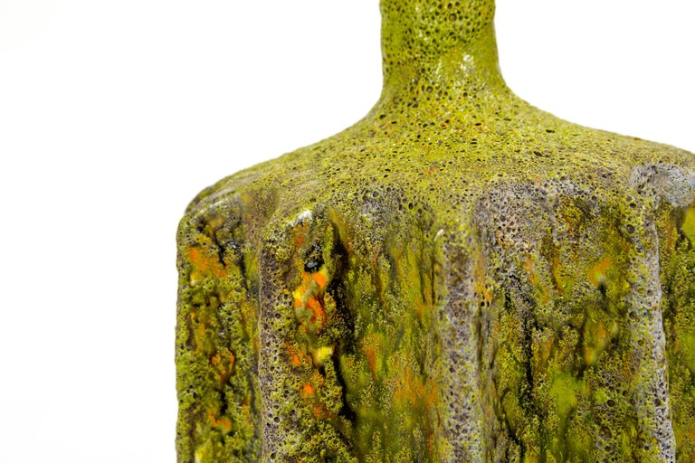 Monumental Pair of Green Lava Glaze Lamps by Volcano Fantoni In Excellent Condition For Sale In San Francisco, CA