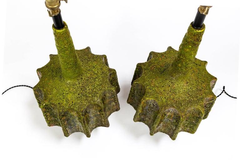 Brutalist Monumental Pair of Green Lava Glaze Lamps by Volcano Fantoni For Sale