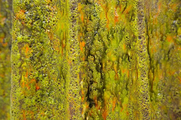 Ceramic Monumental Pair of Green Lava Glaze Lamps by Volcano Fantoni For Sale