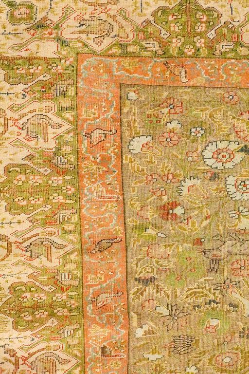 Antique Turkish Silk Kaiseri Rug, circa 1880s 5