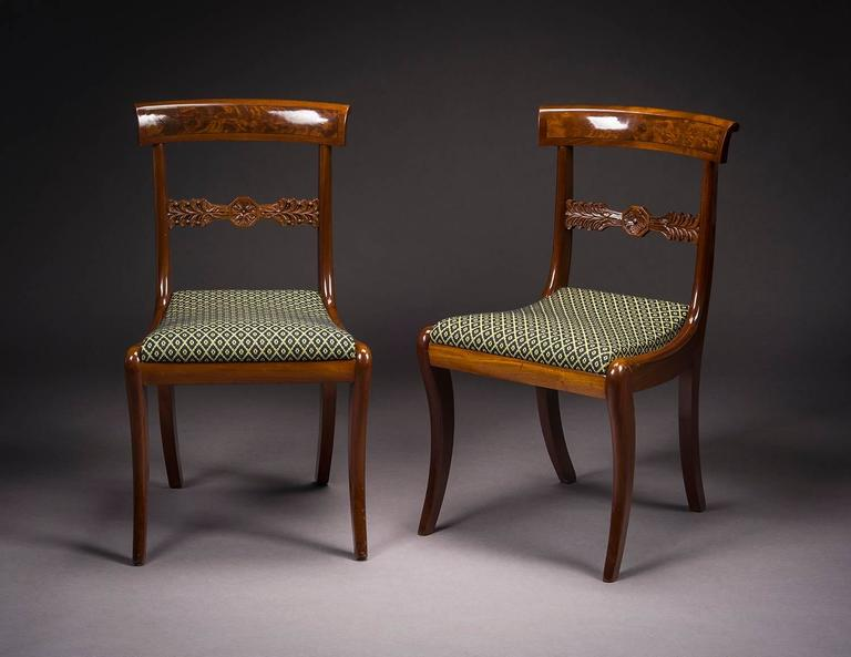 American Empire Set of Twelve Neoclassical Dining Chairs For Sale