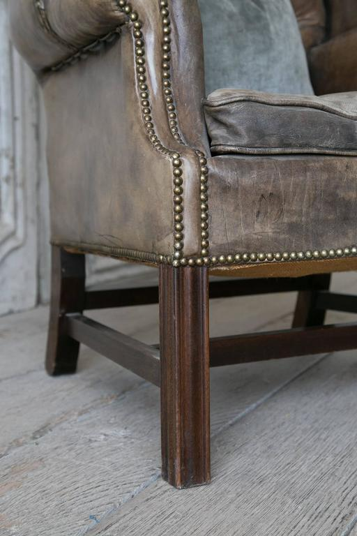Vintage chesterfield style leather wingback chair at 1stdibs