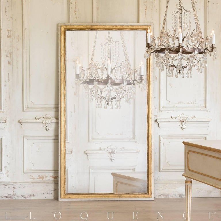 American Eloquence® Grande Eugenie Panel Mirror in Toasted Almond and Gold For Sale