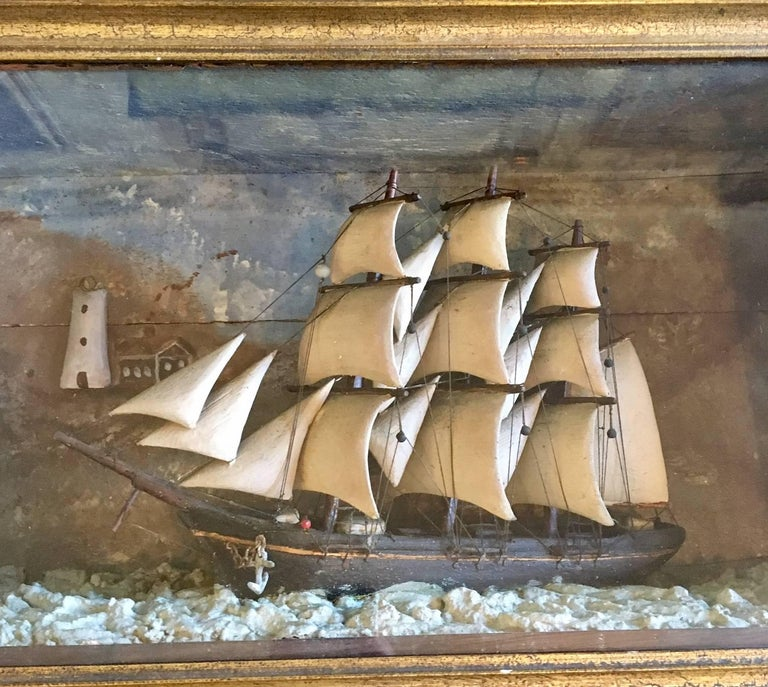 Primitive 19th Century Carved Wooden Ship Shadowbox with Lighthouse and Cottage For Sale