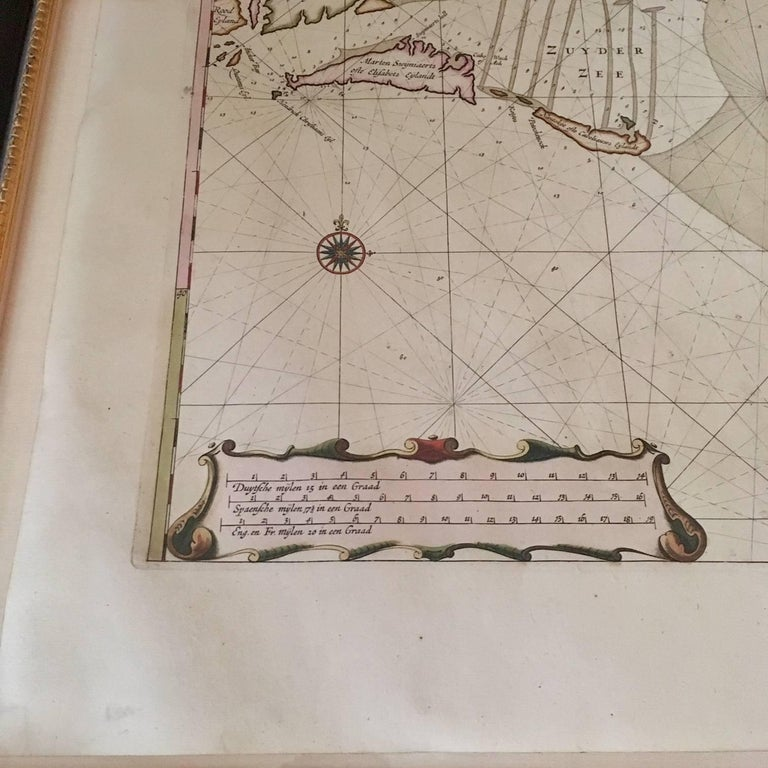 Hand-Painted Roggeveen's Hand Colored Chart of Cape Cod and the Islands, 1675 For Sale