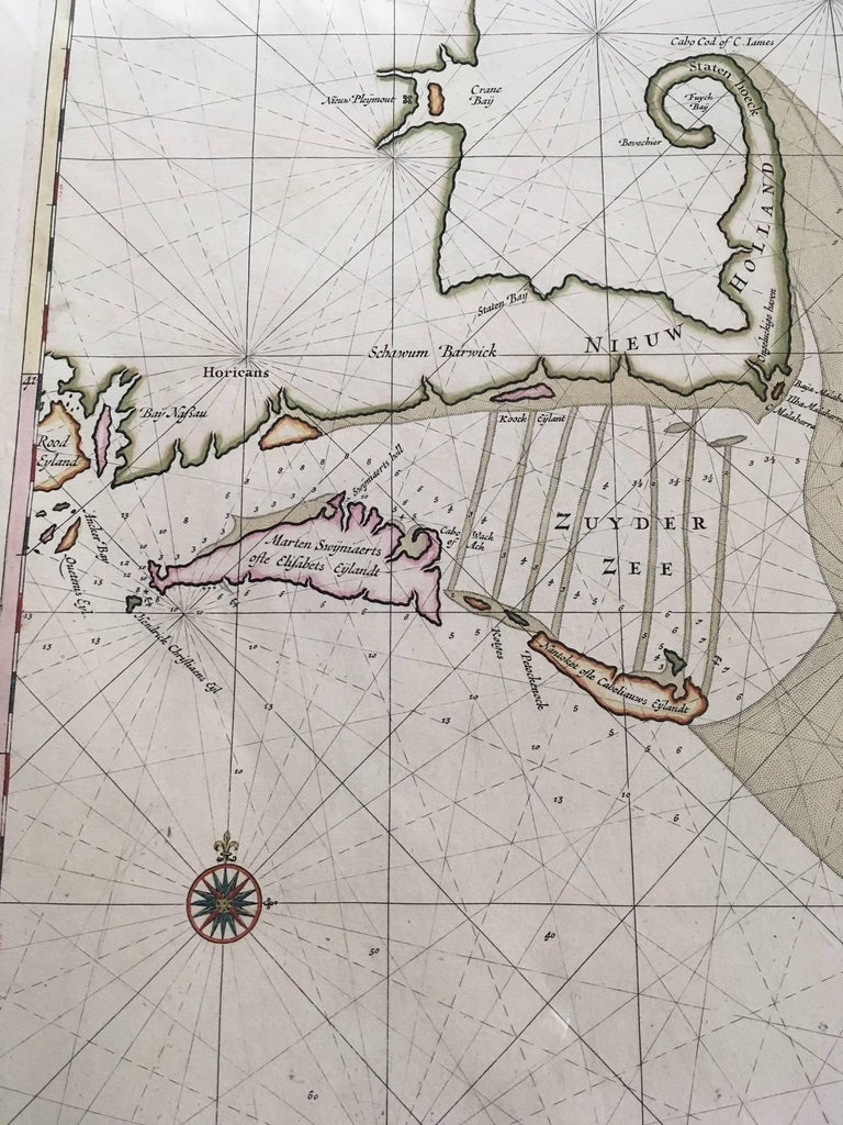 Dutch Roggeveen's Hand Colored Chart of Cape Cod and the Islands, 1675 For Sale