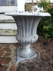 Lead Urn planter with scallop side details