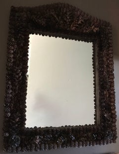 Mirror with Frame of Natural Pine Cones