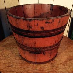 Antique stave bucket in original red paint