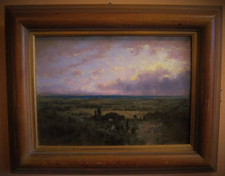 George Inness II Oil on Panel Coastal Plain at Sunrise 6