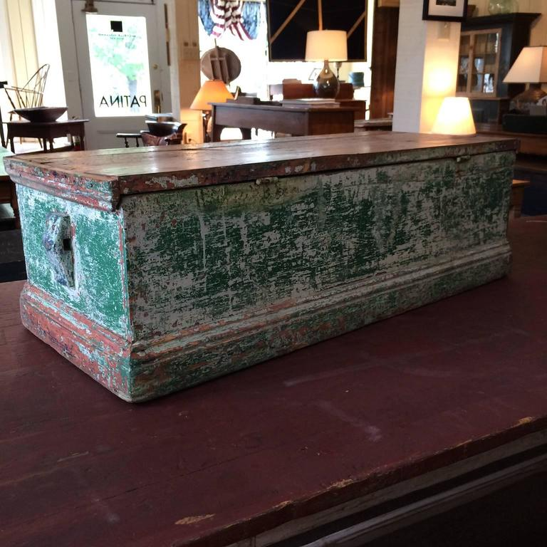 North American Sea Chest in Green Paint For Sale