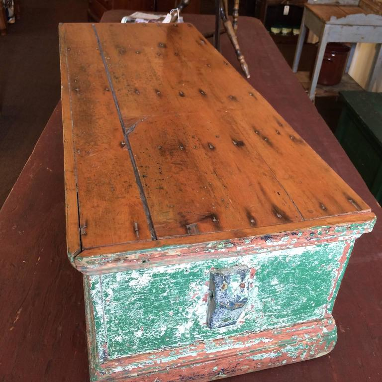 19th Century Sea Chest in Green Paint For Sale