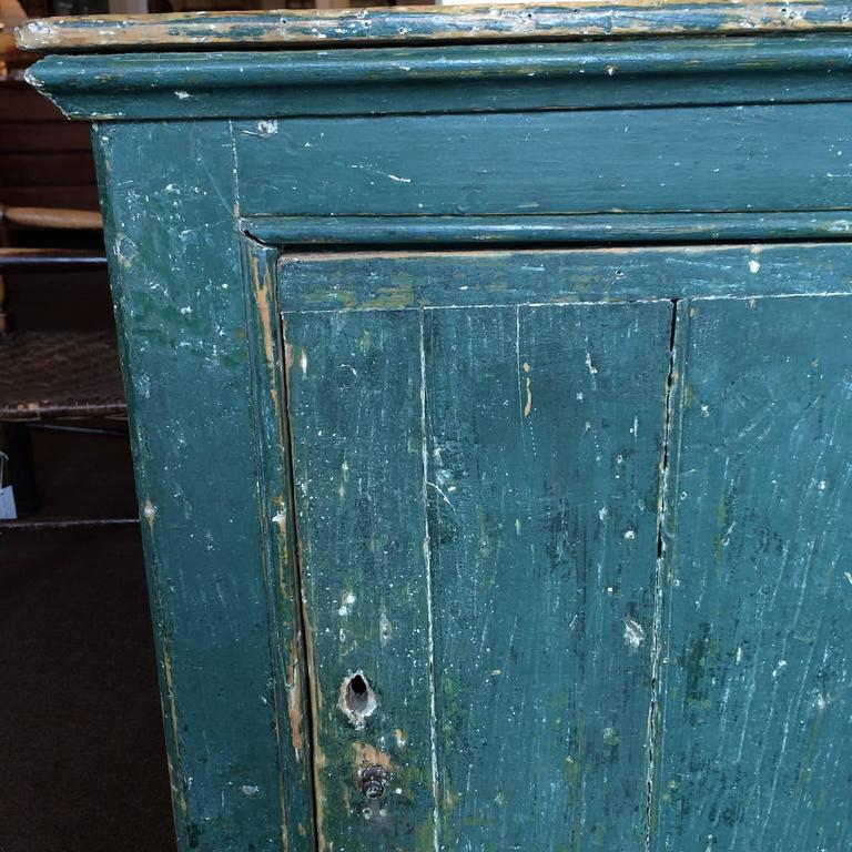 Painted Green Single Door Cupboard For Sale