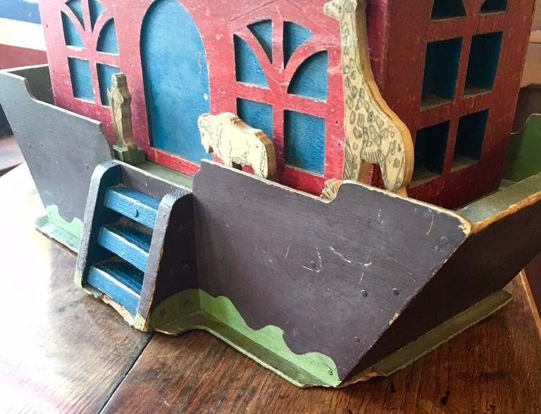 Carved 19th Century Handcrafted Folk Art Noah's Ark For Sale