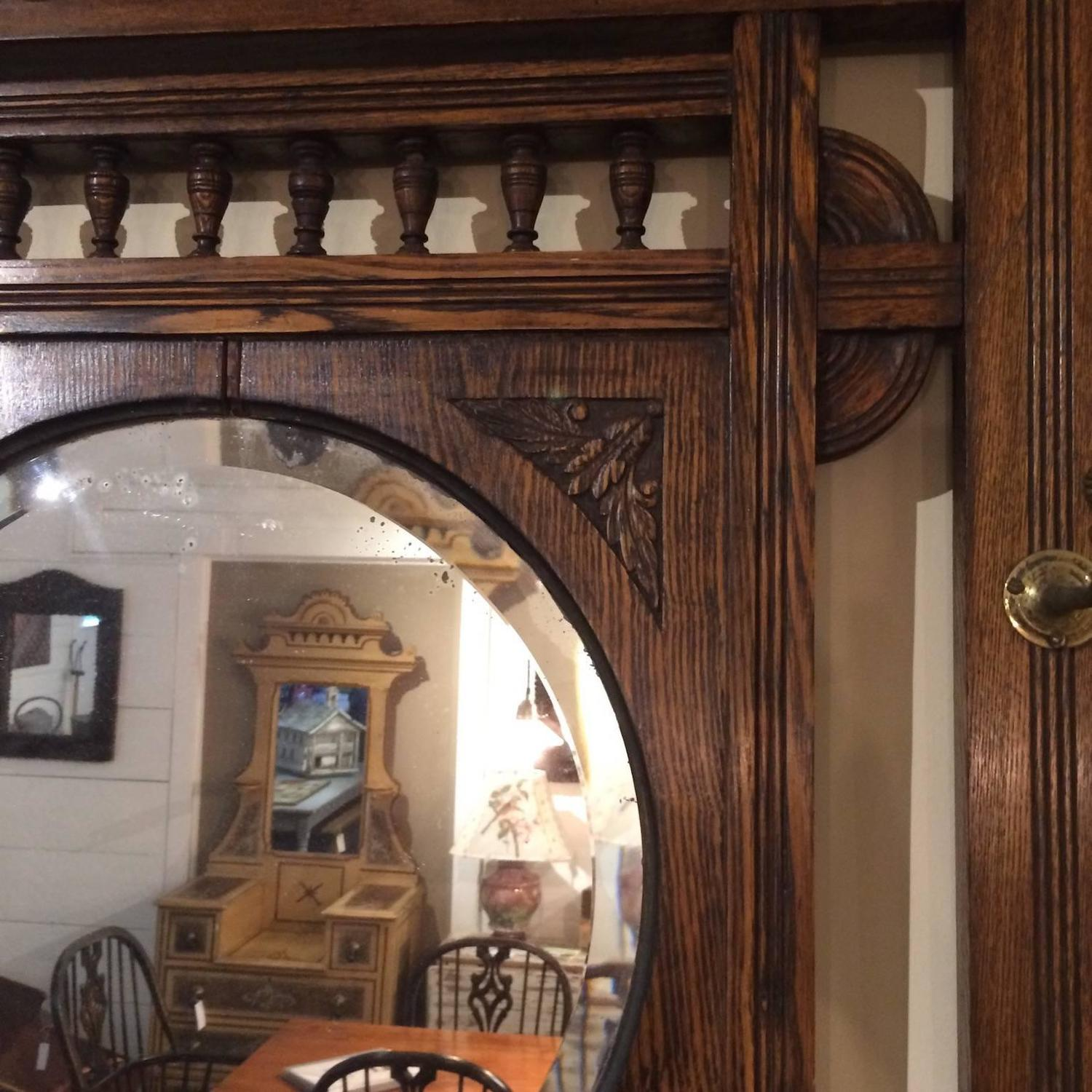 Oak mirror with hat rack for sale at 1stdibs for Interior design 02554