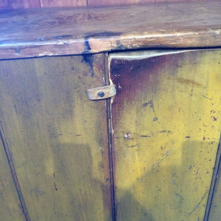 One-Piece 19th Century Cupboard in Mustard Paint 1