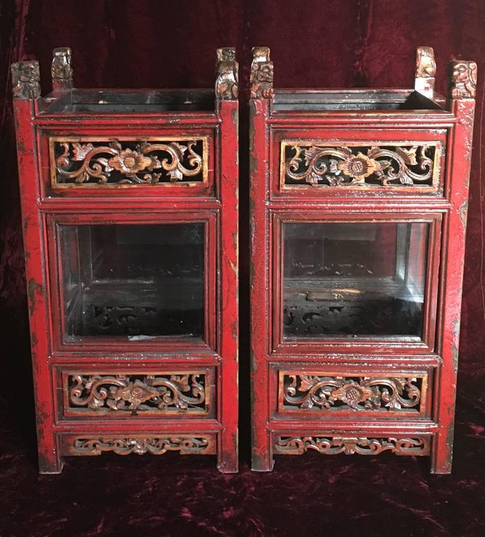 Pair of Vintage Chinese Carved Wooden Glazed Candle Lanterns, circa 1950 7